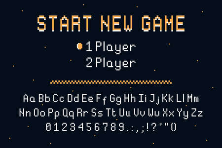 Pixel art font. Retro alphabet for 8bit games or retro-looking project. Vintage pixel typefacedesign with uppercase and lowercase letters and numbers. Vector.