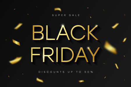 Black Friday sale banner. Golden shiny text on black background with gold confetti. Special offer, discounts, sale on Black Friday. Vector.