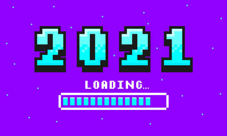 2021 pixel art banner for New Year. 2021 numbers in 8-bit retro games style and loading bar. Pixelated happy New Year and Merry Christmas holiday card or banner. Vector.