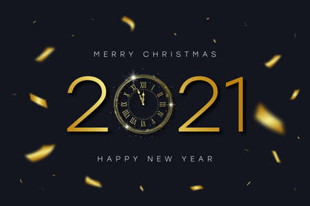 2021 New Year and Merry Christmas banner with gold vintage clock with Roman numerals and golden confetti. Shiny text and clock-face dial with eve for New Year. Vector illustration.
