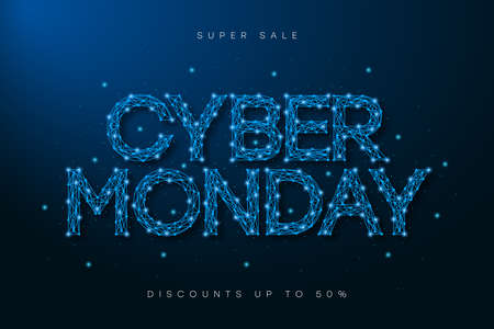 Cyber Monday sale banner. Low poly advertising poster with text made by low polygonal wireframe mesh for sale of cyber monday. Special offer, discounts. Vector.