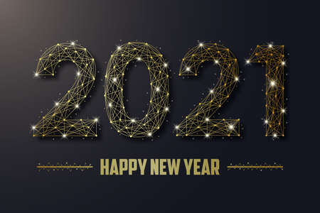 2021 New Year illustration made by gold points and lines, golden polygonal wireframe mesh, text with shadow and glowing sparkle. Low poly greeting card. Vector.