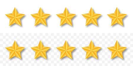 Gold raiting stars. 5 golden star set with shadow on transparent background. Customer feedback concept. Vector.