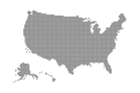 USA map made by dots and points. Dotty map of United State of America. Vector illustration. Vettoriali