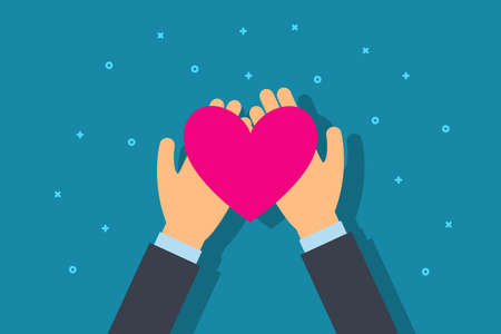 Charity and donation concept. Man give heart in palm hand. Flat style vector illustration.