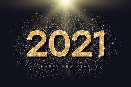 2021 number with golden glitter for New Year. Holiday banner for New Year and Merry Christmas with gold glowing and bright particles. 2021 glister text. Vector illustration.