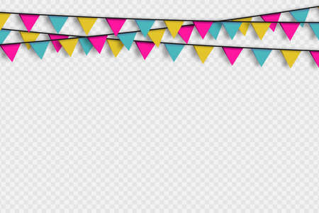 Bunting hanging banner with shadow on transoarent background. Hanging triangular flags, colorful garlands for holiday decoration. Vector.