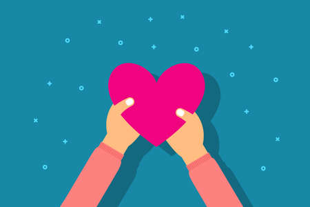 Charity and donation concept. Girl give heart in palm hand. Flat style vector illustration. Vettoriali