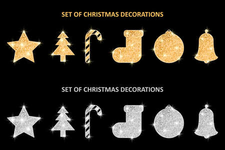 Glitter covered Christmas gold and silver decorations set. Holiday hanging ornaments. Golden glittering Christmas balls. Vector illustration.