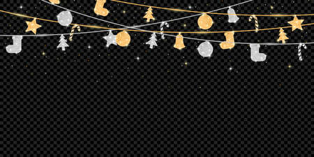 Christmas and New Year banner with glitter golden and silver decoration. Holiday background with hanging glitter covered balls. Template for greeting card and poster. Vector.