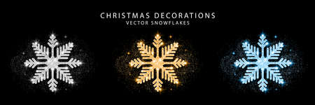 Set of glitter snowflake. Golden, silver and blue glittering Christmas decoration. Bright glitter covered snowflakes. Vector. Vettoriali