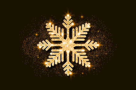 Gold glitter snowflake. Golden glittering Christmas decoration. Bright glitters covered snowflake. Vector. Vettoriali