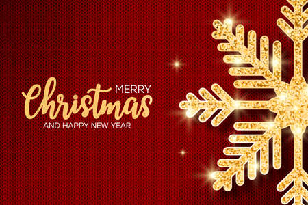 Christmas and New Year banner with glitter golden snowflake at red knit texture. Holiday knitted background with glitter covered snowflake. Vector. Vettoriali