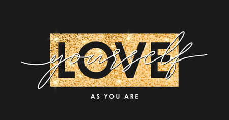 T-shirt design with gold glitter texture and slogan - love yourself. Typography graphics for tee shirt with golden glitter. Girls apparel print. Vector.