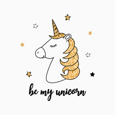 T-shirt design with unicorn and gold glitter texture. Typography graphics for tee shirt and children's wear with golden glitter. Vector.