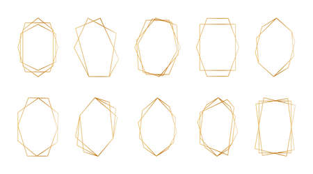 Gold geometric frames. Set of golden frames or borders for wedding invitations. Luxury abstract design elements for marriage invitations in art deco style. Vector.