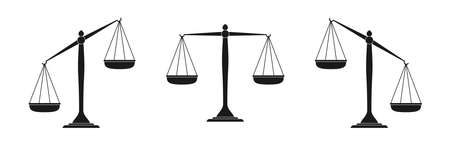 Scales icon set. Law scales in balance and imbalance. Vector illustration. Vettoriali