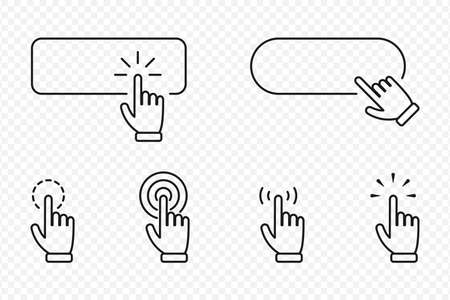 Click cursor pointer icon set with blank button. Website banners and clicking cursor on transparent background. Vector illustration. Vettoriali