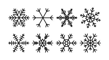 Snowflakes set. Collection of snowflake for Christmas and New Year decoration. Winter holiday icons. Vector.