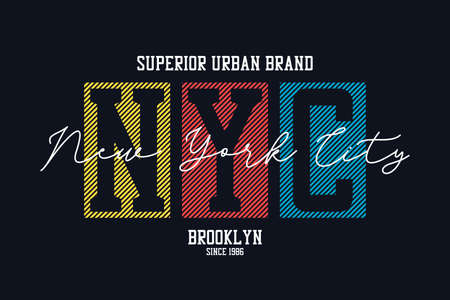 New York city design for t-shirt. NYC, Brooklyn tee shirt print. Typography graphics for apparel. Vector.