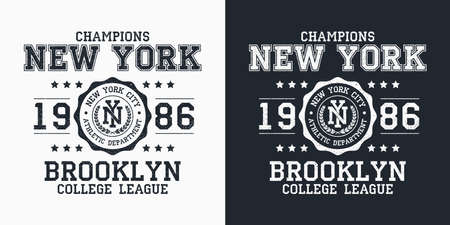 New York, Brooklyn typography for design clothes. Graphics for print product, t-shirt with grunge, vintage sport apparel. Champions of college league. Vector illustration.