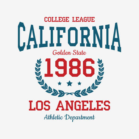 Los Angeles college typography for t-shirt. California slogan tee shirt, sport apparel print with vintage graphics. Vector illustration. Vettoriali