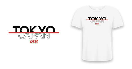 Tokyo slogan, Japan t-shirt design. Tee shirt typography print. Apparel design. Vector. Vettoriali