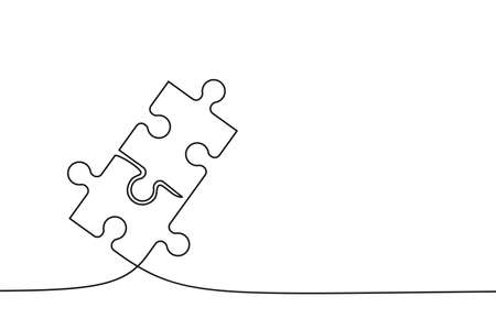 Two connected puzzle pieces of one continuous line drawn. Jigsaw puzzle element. Vector illustration.