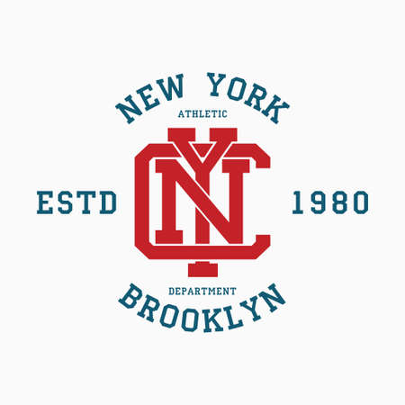 New York college typography for t-shirt. Brooklyn slogan tee shirt, sport apparel print. NYC vintage graphics. Vector illustration.