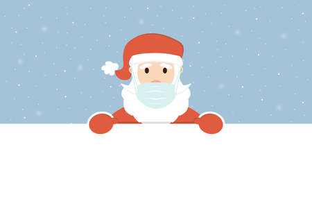 Santa Claus in medical face mask with banner for text. Merry Christmas and New Year concept during the coronavirus pandemic. Vector illustration.