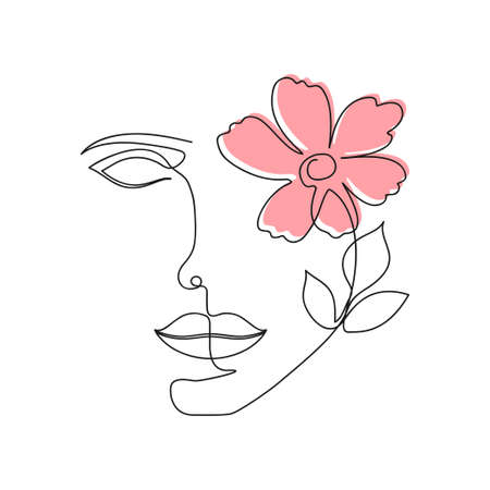 One line woman face with flower and leaves. Continuous line drawing of girl face and flower. Beauty industry concept. Vector.