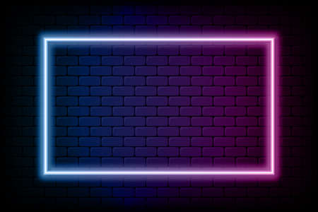 Color rectangle neon frame. Glowing neon light in rectangle shape. Colored bright sign at brick wall background. Vector.