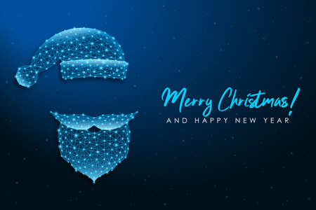 Santa Claus low poly face. Polygonal wireframe mesh illustration with Santa Claus beard, mustache and hat. Merry Christmas and New Year banner. Vector.