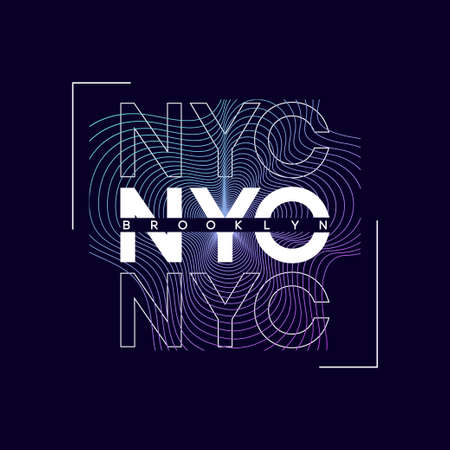 NYC, New York city t-shirt design with abstract colored print. Brooklyn typography graphics for tee shirt. Abstract design for apparel. Vector.