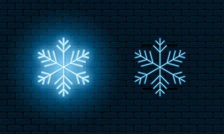 Neon light sign of snowflake. Blue glowing neon snowflake with on and off version. Snow icons. Vector illustration.