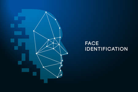 Face Recognition. Face identification technology. Biometric Authentication concept. Facial recognition technology, face id. Vector illustration.