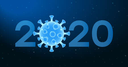 2020 New Year banner with virus cell of Coronavirus. Abstract illustration with 2020 number and COVID-19 bacteria on blue background. Vector.