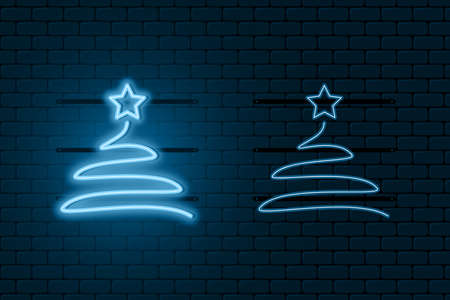 Neon light sign of Christmas tree. Blue glowing neon fir-tree with star with on and off versions. Vector illustration.