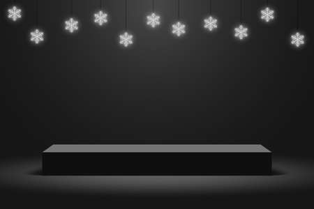 Realistic dark platform with hanging glowing neon snowflakes, stage with empty pedestal. 3d podium for Christmas and New Year presentation. Vector. Illustration