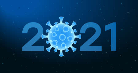 2021 New Year banner with virus cell of Coronavirus. Abstract illustration with 2021 number and COVID-19 bacteria on blue background. Vector. Illustration