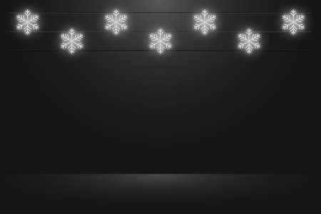 Black studio background with hanging glowing neon snowflakes. Realistic empty dark studio room. Background for Christmas and New Year presentation. Vector.