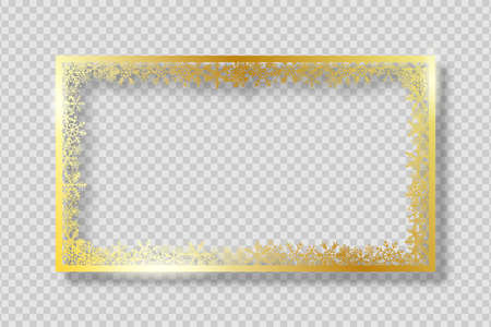 Gold frame with golden snowflakes. Banner for Merry Christmas and New Year text or photo. Golden rectangle border with gold snowflake on transparent background with shadow. Vector.