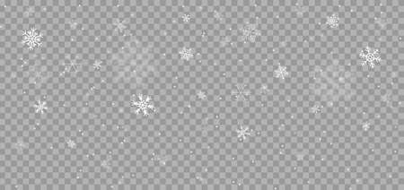 Falling snowflakes at transparent background. Snowfall illustration with snowflakes in different shapes and forms. Falling snow. Vector.