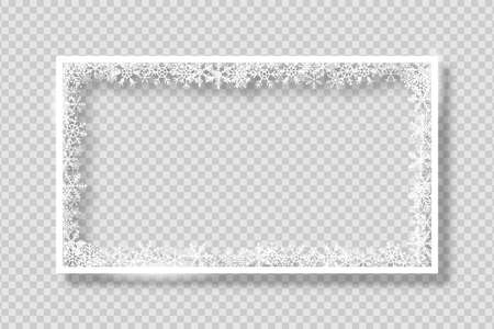 Frame with white snowflakes. Banner for Merry Christmas and New Year text or photo. White rectangle border with snowflake on transparent background with shadow. Vector.