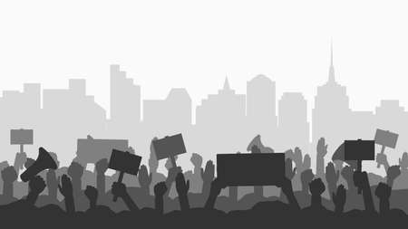 Crowd of people protesters in city. Silhouettes of protesting people with banners, megaphones at cityscape background. Concept of fight for your rights, revolution or protest. Vector illustration. 일러스트
