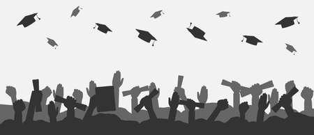 Crowd of graduates throws up academic caps. Silhouettes of graduate people throwing cap and raised up hands with diploma. Concept of graduation university, college or high school. Vector illustration.