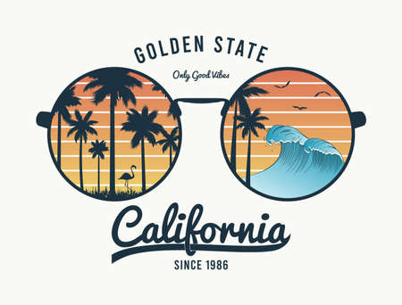 California t-shirt design with color sunglasses with palm trees silhouette, flamingo and waves. Sun glasses print for tee shirt with slogan, tropical palms and beach reflection. Vector illustration.