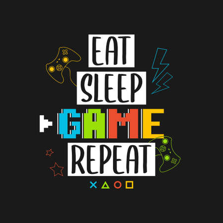 Joysticks gamepad t-shirt design with pixel text and slogan - Eat Sleep Game Repeat. Tee shirt typography graphics for gamers. Slogan print for video game concept. Vector illustration. 일러스트