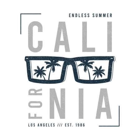 California t-shirt design with sunglasses with palm trees silhouette. Sun glasses print for tee shirt with slogan, tropical palms and grunge. Vector illustration.