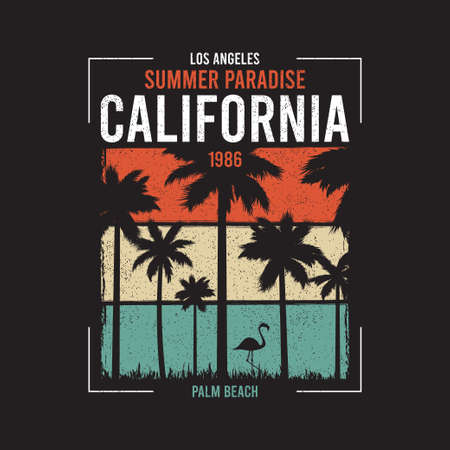 California t-shirt design with silhouette of palm trees and flamingo at color grunge background. Typography graphics for apparel, tee shirt print. Vector illustration.
